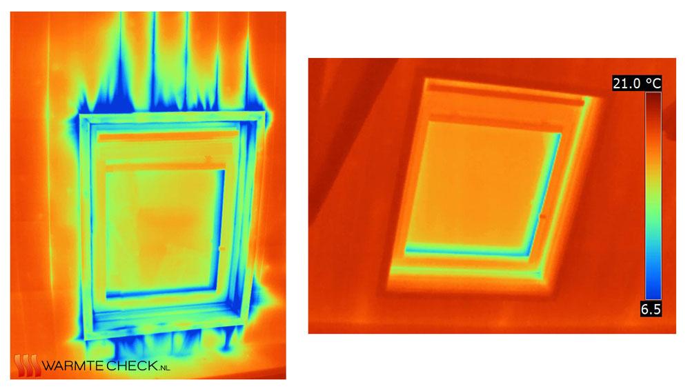 Vergelijking tussen twee warmtebeelden met, resp. zonder blowerdoor
